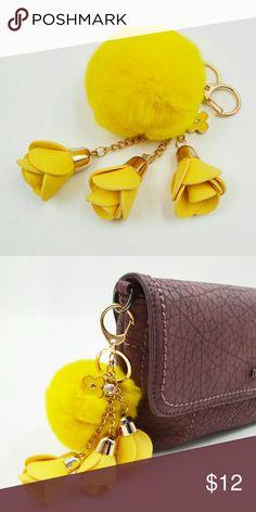 904f908f Yellow Pom Pom & Flower Keychain Cute yellow fur Pom Pom & Flower keychain  and handbag charm.