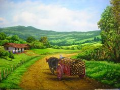 Paisaje 06 Chile, Brazil, Cottage, Paintings, Mountains, Country, Nature, Outdoor, Bullock Cart