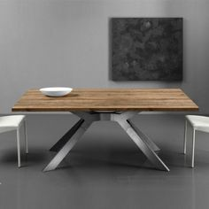 Eurosedia – Sliding oak wood table in Slavonian oak - Home Decor Ideas Dining Room Table, Table And Chairs, Wood Table, Dining Furniture, Furniture Design, Iron Table Legs, Dining Room Design, Chair Design, Interior
