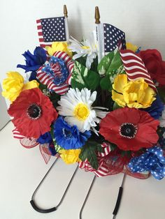 A personal favorite from my Etsy shop https://www.etsy.com/listing/289440715/patriotic-headstone-arrangement-free