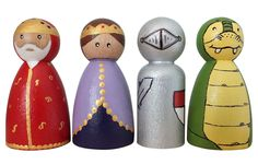 King, Queen, Knight and Dragon Peg dolls. Wooden toys, peg people, pocket dolls