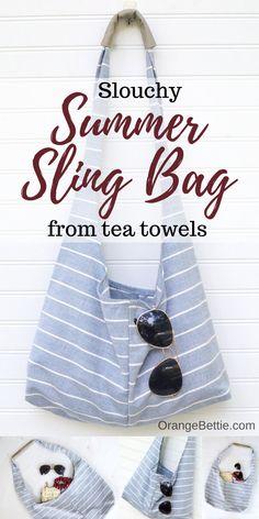 Slouchy DIY sling bag from tea towels – Free Sewing Pattern