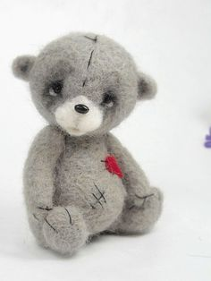 Collectible needle felted teddy bear Boheet . Artist by Agafil