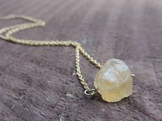Raw Citrine Nugget Necklace Raw Crystal Nugget by MysticTortoise