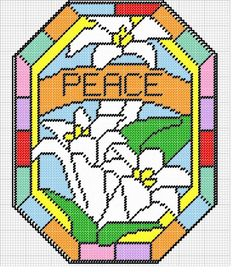 PEACE LILLIES Plastic Canvas Christmas, Plastic Canvas Crafts, Plastic Canvas Patterns, Needlepoint Patterns, Cross Patterns, Stitch Patterns, Beads Pictures, Stained Glass Patterns, Tissue Box Covers