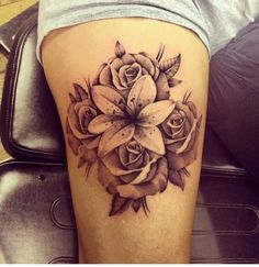 Lily and rose tattoo