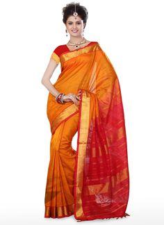 Orange N Red Silk Cotton Saree