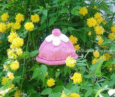 Knitting Pattern - Knit Baby Hat Pattern - Girls Pink Flower Beanie (Newborn, Infant, Toddler, Child sizes) Knitted Spring Children Clothing. $4.99, via Etsy.