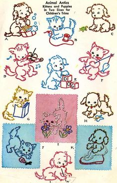 Vintage Embroidery Transfer repo 1534 Charming Puppies Kittens for Children Baby