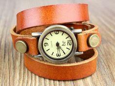 Handmade watch retro wrap watch leather watch vintage style wrist watch gift.