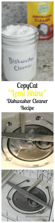 "CopyCat ""Lemi Shine"" Dishwasher Cleaner Recipe. It works just like the real stuff but at a fraction of the cost. An easy and cost effective solution, making it a popular pin for your cleaning board. See full money saving recipe plus more awesome DIY tips at http://lifeshouldcostless.com"