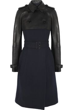 Burberry Prorsum leather and wool-blend coat #black #coat #leather #wool #combination