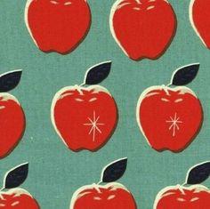 Stoff Obst & Gemüse - Vintage Äpfel Cotton+Steel Canvas Leinen Stoff Jea - ein Designerstück von Stoffbreite bei DaWanda