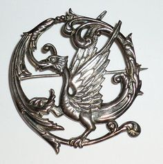 Griffin Brooch Marked Silver Sterling <3