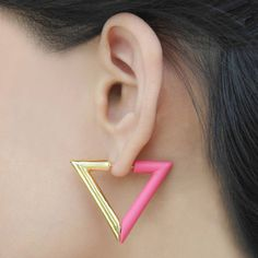Hot Pink Geometric Triangle Magnetic Earrings - Super-cool and on-trend, these magnetic hoop earrings have a half and half interchangeable design of lustrous gold and frosted Persian pink. #Jasperandopal #Jewellery #Valentine #Valentinesday #PersonalisedGift #ForHer