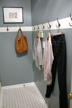Hooks in laundry room for drying clothes. So smart.