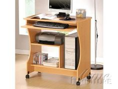 """New Maple Finish Computer Desk w/Wheel ACS008016 by click 2 go. $319.99. with 4 wheel. maple finish. computer desk: 42'x19""""x29""""H. 2011 New maple Finish Computer desk. some assembly maybe required."""