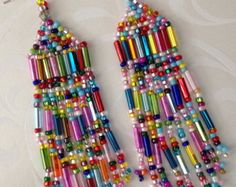 Super Long Beaded Confetti Fringe Seed Bead Earrings