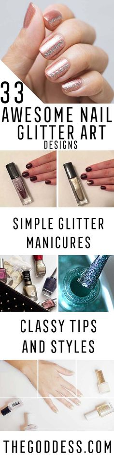 Beauty Hacks : Picture Description 33 Awesome Glitter Nail Art Designs - Cute And Cool Glitter Nail Art Designs That Are Easy and Work For Short Nails, Nail Design Glitter, Nails Design With Rhinestones, Glitter Nail Art, Sparkle Nails, French Nails, Glitter French Manicure, Trendy Nail Art, New Nail Art, Simple Pedicure Designs
