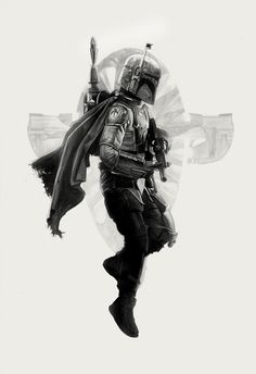 Amazing Star Wars Illustrations by Greg Ruth - Star Wars Mandalorian - Ideas of Star Wars Mandalorian - Boba Fett by Greg Ruth ; Boba Fett Tattoo, Chasseur De Primes, Images Star Wars, Mundo Dos Games, Double Exposition, Star Wars Wallpaper, Boba Fett Wallpaper, Star Wars Tattoo, Star Wars Boba Fett