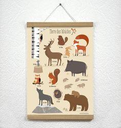 Poster fürs Kinderzimmer Waldtiere, Wanddeko / child's room illustration with forrest animals made by Vierundfünfzig Illustration via DaWanda.com