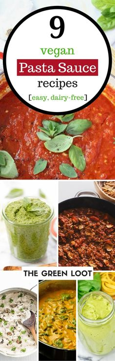 Vegan pasta sauce recipes that are creamy, plant-based, dairy-free and easy to make. Make these sauces with tomatoes or veggies for a healthy pasta. | The Green Loot #vegan #dairyfree