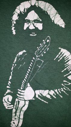 Jerry Garcia green hand made batik Grateful Dead by RastaBatik