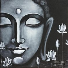 Buddha Peace, Art Prints of Original Painting by Pratibha Madan Black Canvas Paintings, Indian Art Paintings, Black Canvas Art, Canvas Art Prints, Budha Painting, Peace Painting, Ganesha Painting, Mural Painting, Buddha Drawing