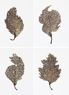 Carved and Embroidered Leaves by Hillary Fayle | Colossal