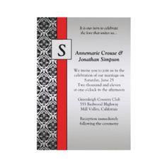 Vintage Black Red And Silver Damask Wedding Invit