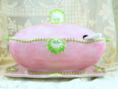 Vintage Italy Soup Tureen | SOON Spectacular Soup Tureen from Italy, Large Pink and Green Tureen ...