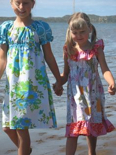 cute vintage sheet dresses      Maw...The smaller girls dress would be cute for beach. Wouldn't it?