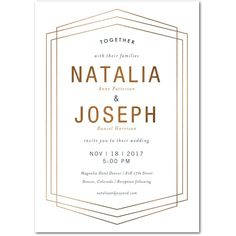 Chic Hexagon - Signature Foil Wedding Invitations - Tallu-lah - White : Front