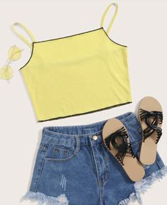 Girls Fashion Clothes, Teen Fashion Outfits, Girl Fashion, Womens Fashion, Crop Tops, Tank Tops, Rib Knit, Contrast, Camisole Top