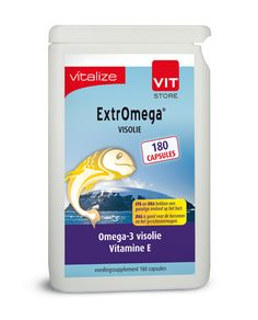 Vitalize Extromega Visolie 180 capsules  Inhoud: 60 180 360 capsules Gebruik: 3 capsules per dag Gebruiksduur: 20 dagen TIP: Ook verkrijgbaar in voordeelverpakking met 180 capsules. ExtrOmega visolie is een pure natuurlijke koudwater visolie gecombineerd met vitamine E. De visolie is rijk aan omega-3 vetzuren met een hoge dosering EPA en DHA. De visolie is een triglyceride-olie die ten opzichten van een ethylestherolie een extra zuiveringsstap heeft ondergaan wat de opneembaarheid bevorderd…