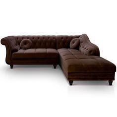 Canapé d'angle droit Empire Velours Marron style Chesterfield