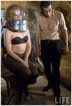 "Director Roger Vadim and Jane Fonda working on movie ""Barbarella"" near Rome.1967, photo Carlo Bavagnoli for LIFE"