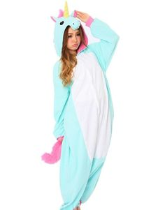 DAYAN New Pajamas Anime Costume Adult Animal Onesie Unicorn Cosplay Blue and White Size S