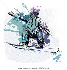 watercolor vector snowboarding