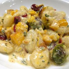 gnocchi with brussels sprouts + butternut squash in sage cream sauce.