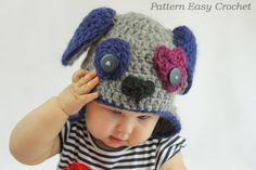 Crochet Pattern Puppy Dog Hat  in 5 sizes from newborn to 6 years