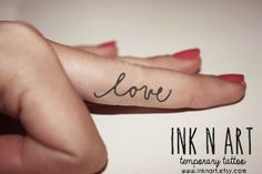 InknArt Temporary Tattoo  2pcs LOVE hand writing by InknArt, $2.99