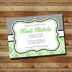 Damask Bridal Shower Invitation (digital file) Choose your colors on Etsy, $15.00