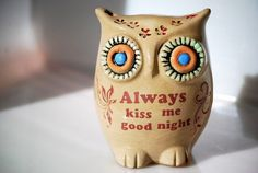 valentine owl always kiss me good night home decor by claylicious