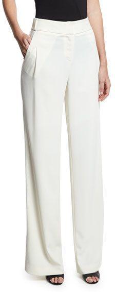 Halston Flowy Wide-Leg Pants, White