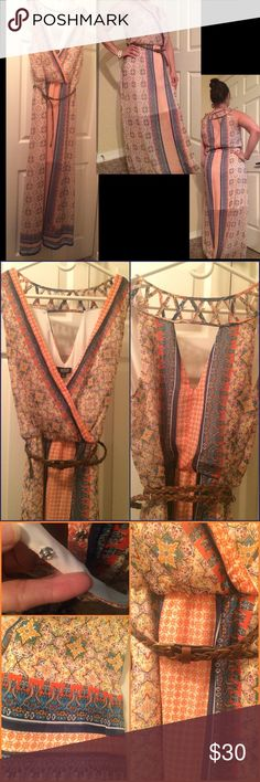 """BEAUTIFUL MAXI DRESS Measurements:                                                         Shoulder seam to hem: 60 inches Shoulder seam to waist: 18 inches  Underarm to waist: 7.5 inches Across waist laid flat: 13,stretches to 18.                    I bought it without trying it on. It's a little too long on me. May be better suited for someone 5""""4 or taller. Beautiful colors of blues, oranges, and white. Has a white under lining to the knee. Ana Dresses"""