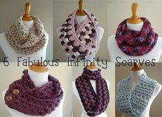 6 Fabulous Infinity Scarves, Free Crochet Patterns...most of these work up quickly