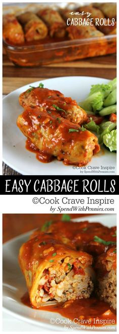 Easy Cabbage Rolls!  Rice, beef and pork wrapped in cabbage and cooked until tender! This delicious comforting recipe is easy to make!