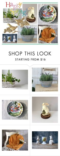 """""""Happy Spring"""" by gazaboovintage ❤ liked on Polyvore featuring interior, interiors, interior design, home, home decor, interior decorating, INC International Concepts, bedroom, rustic and vintage"""