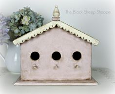 Shabby chic pink and white birdhouse. Antoinette Pink and Old White Chalk Paint with clear and dark wax.